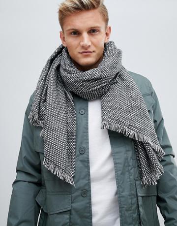 Esprit Monochrome Geo Knitted Scarf - Black