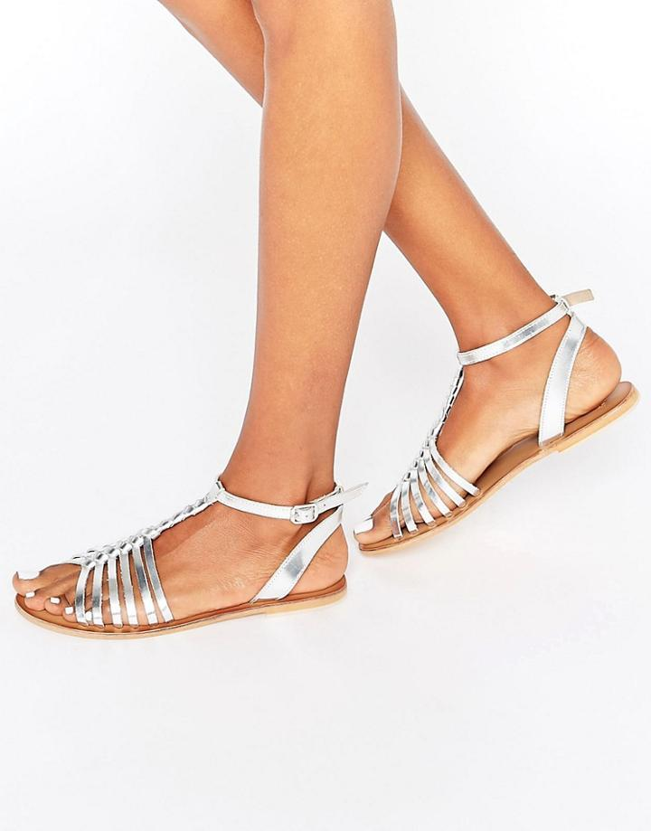 Asos Farlorn Leather Plaited Sandals - Silver