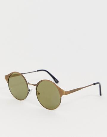 Asos Design Round Sunglasses With Copper Frames And Olive Lenses - Copper