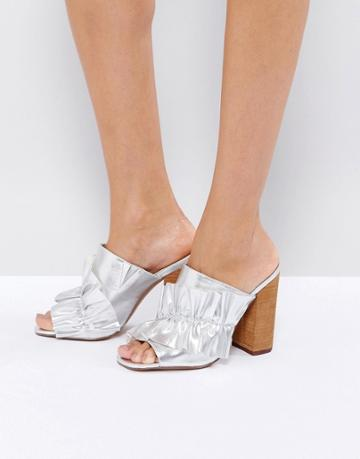 Asos Talent Scout Ruffle Mules - Silver