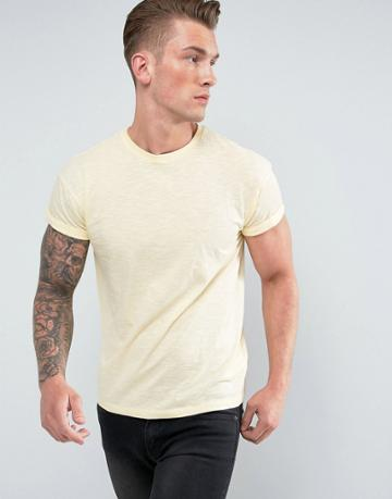 New Look T-shirt With Rolled Sleeves In Yellow - Yellow