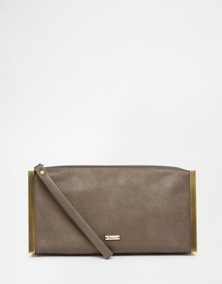 Nali Bronze Metal Edge Clutch Bag - Brown