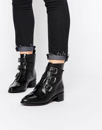 Asos Addicted To You Leather Ankle Boots - Black