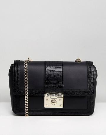 Love Moschino Chain Strap Mock Croc Bag - Black