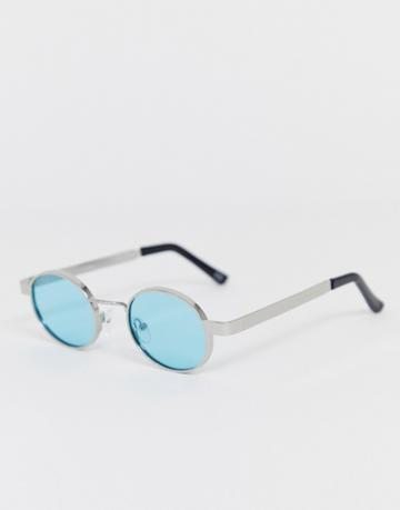 Asos Design Metal Oval Sunglasses In Silver With Turquoise Lens And Chunky Temple - Silver