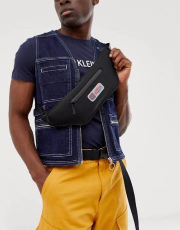 Asos Design Cross Body Bag In Black Scuba With Rubber Badge - Black