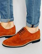 Asos Derby Shoes In Stone Suede With Contrast Sole - Stone