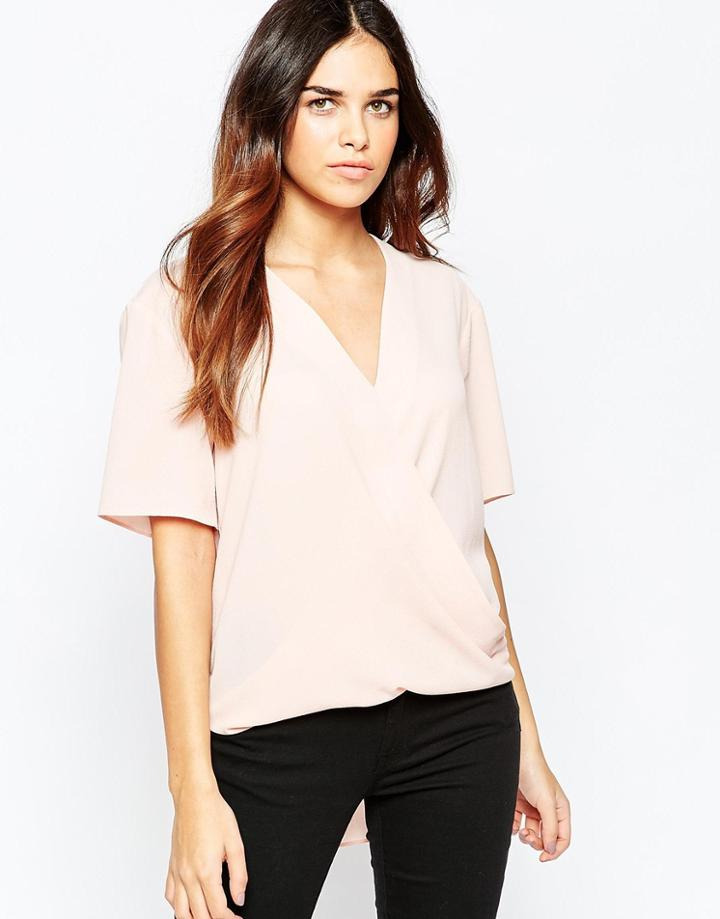 Asos Short Sleeve Drape Wrap Blouse - Blush