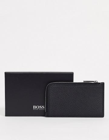 Boss Crosstown Zip Round Grain Leather Wallet In Black