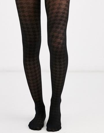 Asos Design Houndstooth Tights - Black