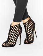 Truffle Collection Rita Peeptoe Cut Out Heeled Ankle Boots - Black Mf