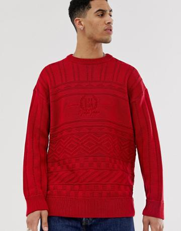New Look Crew Neck Sweater With Usa Embroidery In Red