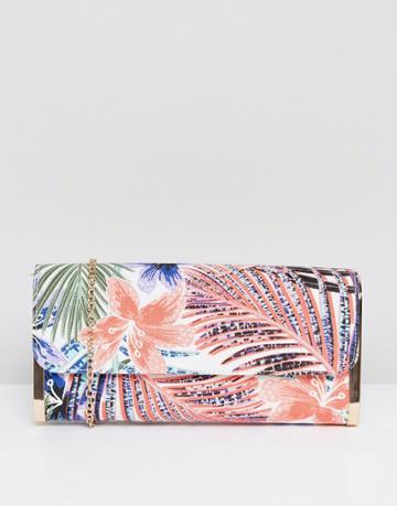 New Look Palm Leaf Clutch Bag - Black