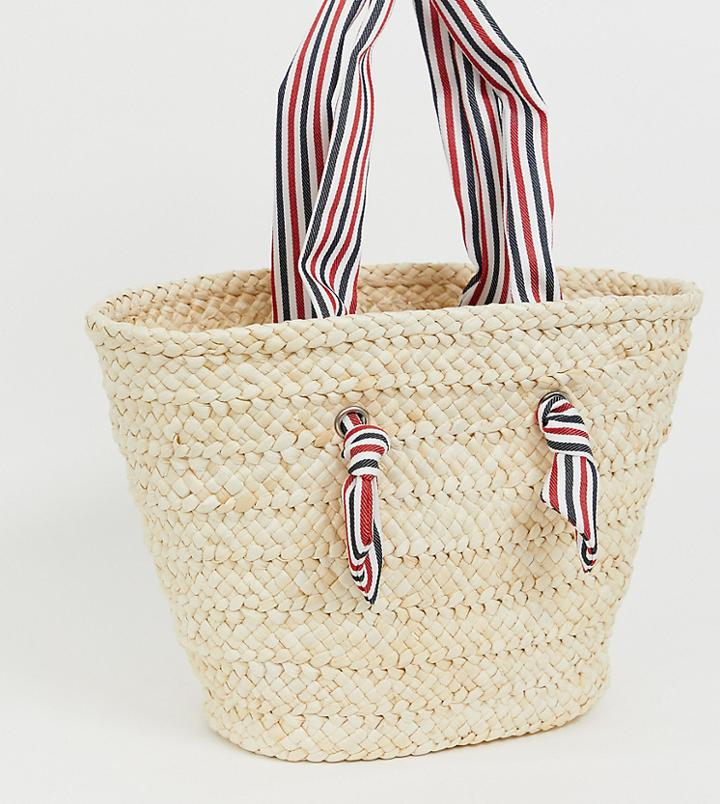 South Beach Straw Beach Bag With Striped Handle - Beige