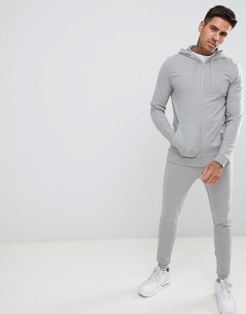 Asos Design Tracksuit Muscle Zip Up Hoodie/extreme Super Skinny Joggers In Gray Marl - Gray