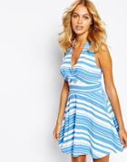 Love Plunge Neck Skater Dress In Stripe