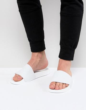 Slydes Cali Logo Slider Flip Flops In White - White