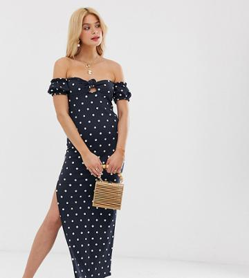 Asos Design Tall Off Shoulder Crinkle Maxi Sundress With Puff Sleeve In Polka Dot - Multi