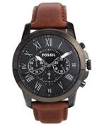 Fossil Grant Brown Leather Strap Chronograph Watch Fs4885 - Brown
