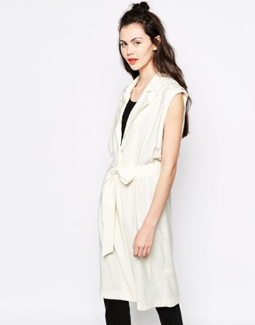 Monki Sleeveless Duster Coat - Cream