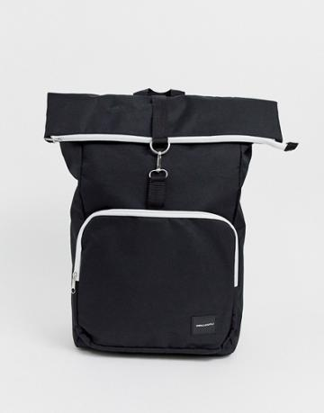 Asos Design Backpack In Black With Contrast White Zips And Roll Top - Black