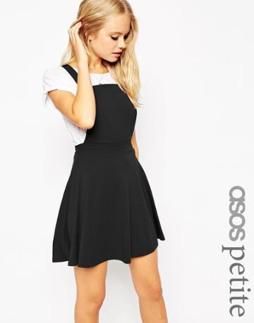 Asos Petite Pinafore Dress - Black
