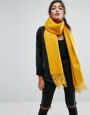 Asos Supersoft Long Woven Scarf With Tassels - Gold