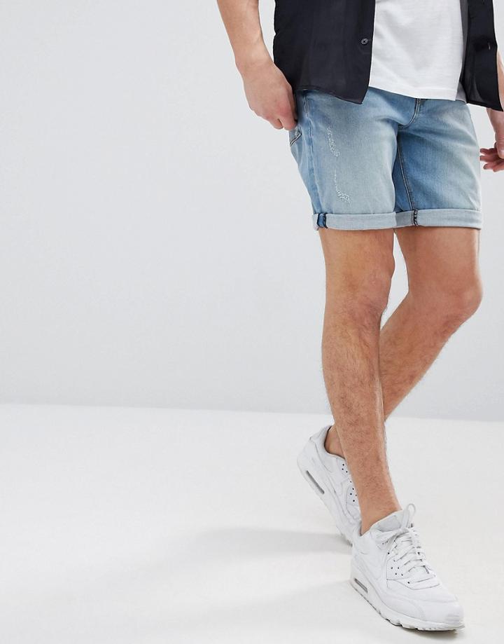 Asos Denim Shorts In Slim Light Wash With Abrasions - Blue
