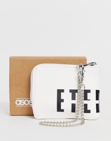 Asos Design Zip Around Wallet With Slogan Detail In White - White
