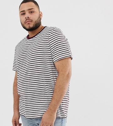 New Look Plus T-shirt In Burgundy Stripe - Red