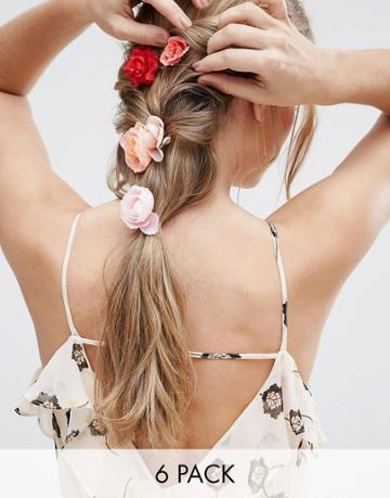 Asos Pack Of 6 Flower Hair Clips - Multi