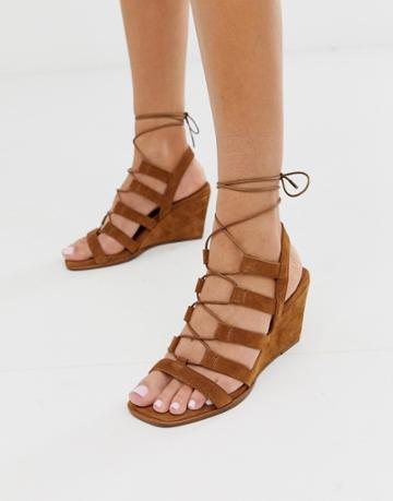 Asos Design Hansel Suede Mid Heeled Wedges In Tan