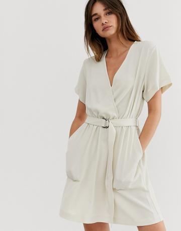 Weekday Tie Belt Detail Dress In Light Beige - Beige
