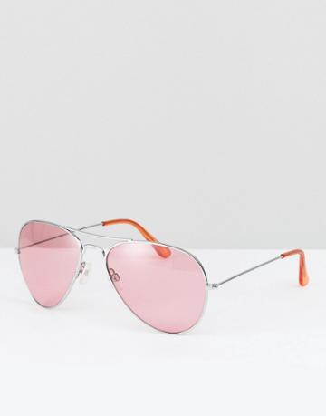 Reclaimed Vintage Inspired Aviator Sunglasses In Pink - Blue