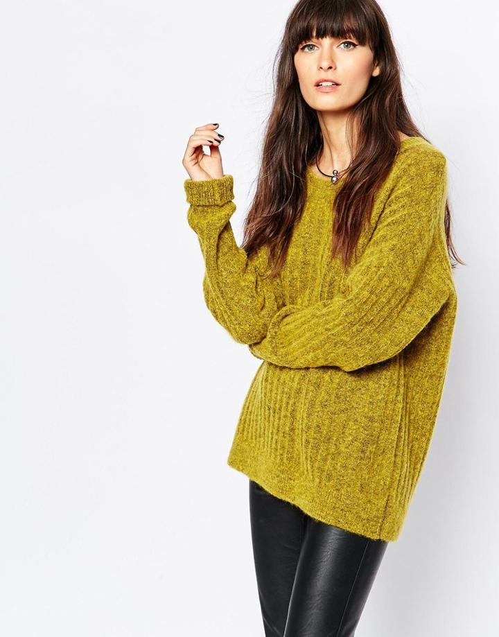 Selected Mado Longsleeve Ribbed Sweater - Sulpher