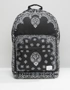 Spiral Backpack With Bandana Print - Black