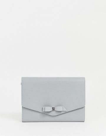 Ted Baker Krystan Leather Envelope Clutch-gray