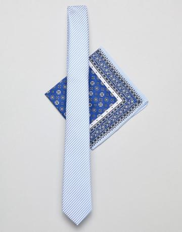 Asos Design Slim Tie In Blue Stripe With Paisley Pocket Square - Blue
