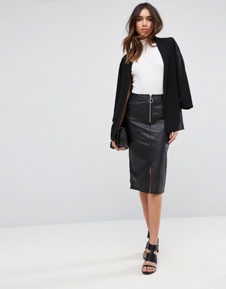 Asos Leather Pencil Skirt With Circle Zip Trim - Black