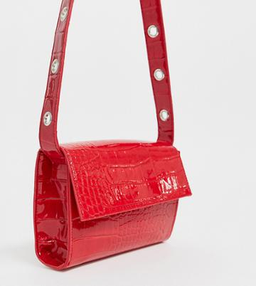 Glamorous Exclusive Red Snakeskin Patent Cross Body