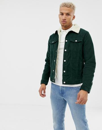 Pull & Bear Fleece Lined Cord Jacket In Green - Green