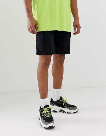 Bershka Slim Cargo Shorts With Pockets In Black - Black