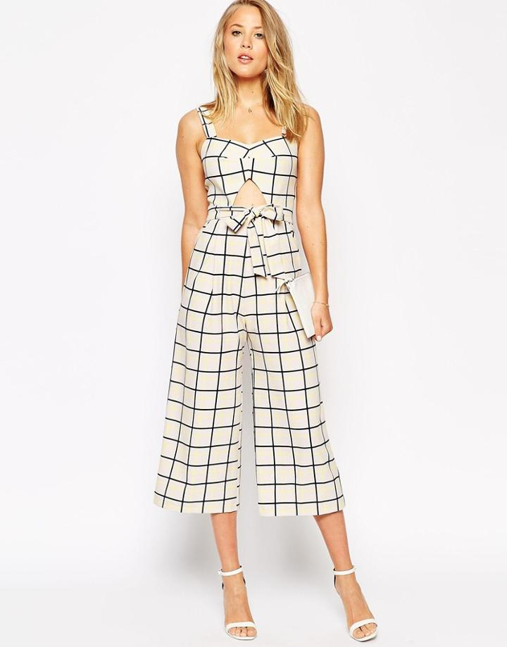 Asos Jumpsuit In Grid Print With Cutout Detail - Check