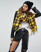 Asos Long Woven Bright Yellow Plaid Scarf With Tassels - Yellow