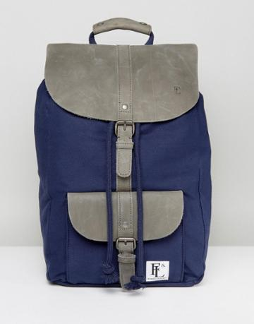 Forbes & Lewis Leather Lincoln Backpack In Navy - Gray