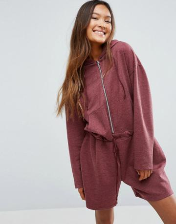 Asos Oversized Sweat Romper - Red