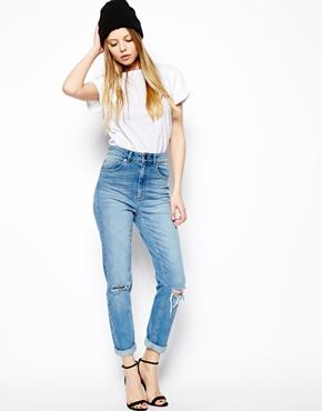 Asos Farleigh High Waist Slim Mom Jeans In Mid Wash Blue With Busted Knees - Vintage Wash