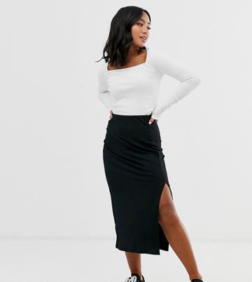 New Look Petite Ribbed Midi Skirt In Black - Black
