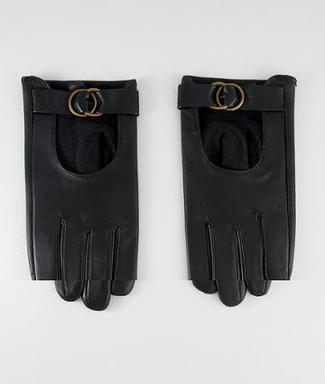 Asos Design Leather Gloves With Circle Detail Hardware - Black