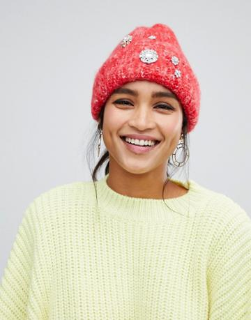 Asos Design Fluffy Embellished Beanie In Two Tone Knit - Red